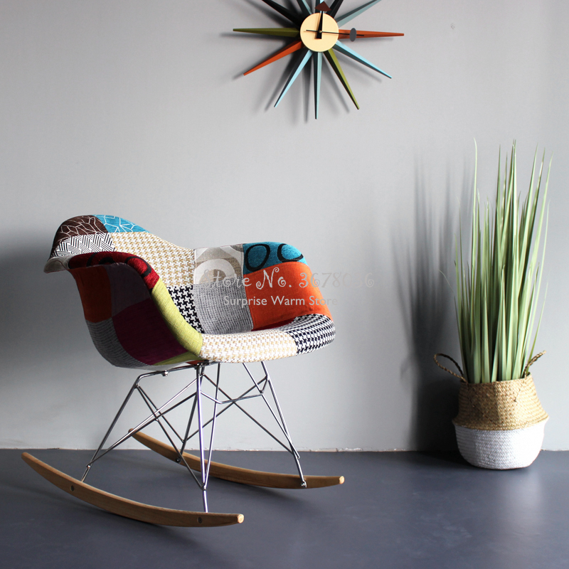 Nordic Colorful Fabric Stitching Dining Chair Leisure Back Computer Chair Sofa Home Solid Wood Rocking Chair Nordic Bar Chair