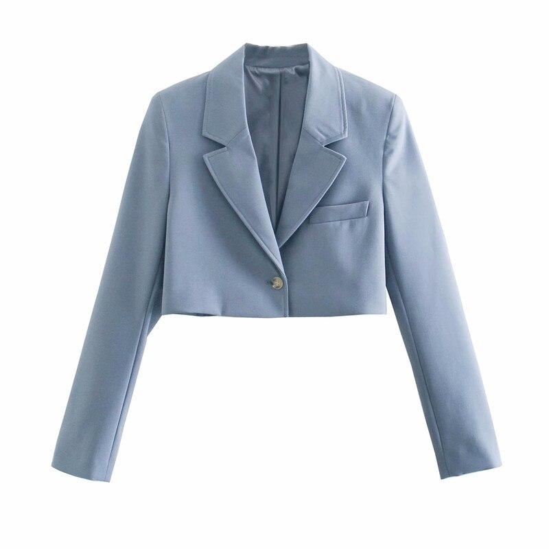 PUWD Casual Women Lapel Long Sleeve Coat 2021 Spring-autumn Fashion Ladies Niche Wild Female High Waist Short Blazer Coat Top