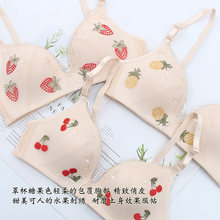 Fashion Underwear female sexy lace Cherry Embroidery Bra thin Teen Girls Student Soft Sister Comfortable breathable underwear(China)