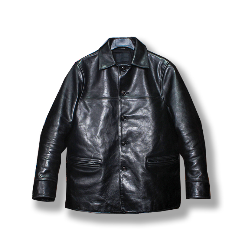 P168 Read Description! Asian Size Super Quality Genuine Horse Leather Jacket Classic Horsehide Leather Brakeman Jacket