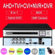 Hi3521D 5MP kamera telewizji przemysłowej srebrny Panel XMeye Audio 5MP 8CH 8 kanałowy H.265 + 6 w 1 koncentryczny hybrydowy WIFI CVI TVI NVR AHD DVR