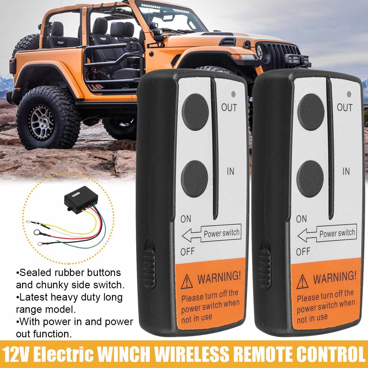 Car Wireless Winch Electric Remote Control Switch W/ Manual Transmitter Set for Jeep Truck ATV SUV Trailer Electric Winch Hoist