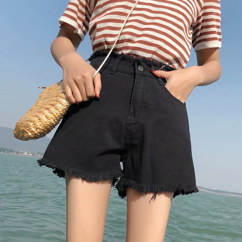 High-waisted Denim Shorts Women's Summer 2019 New Style Slimming Versatile Elasticity Outer Wear Students Korean-style Online Ce