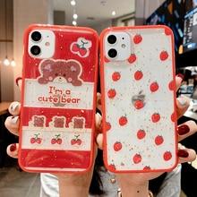 Shining strawberry bear Phone Cases For iphone 11 pro max X XR XS MAX 6 6S Plus 7 8 11 SE 2020 Plus Soft silicon Star back cover полотенце shining star shining star mp002xu0e3y6