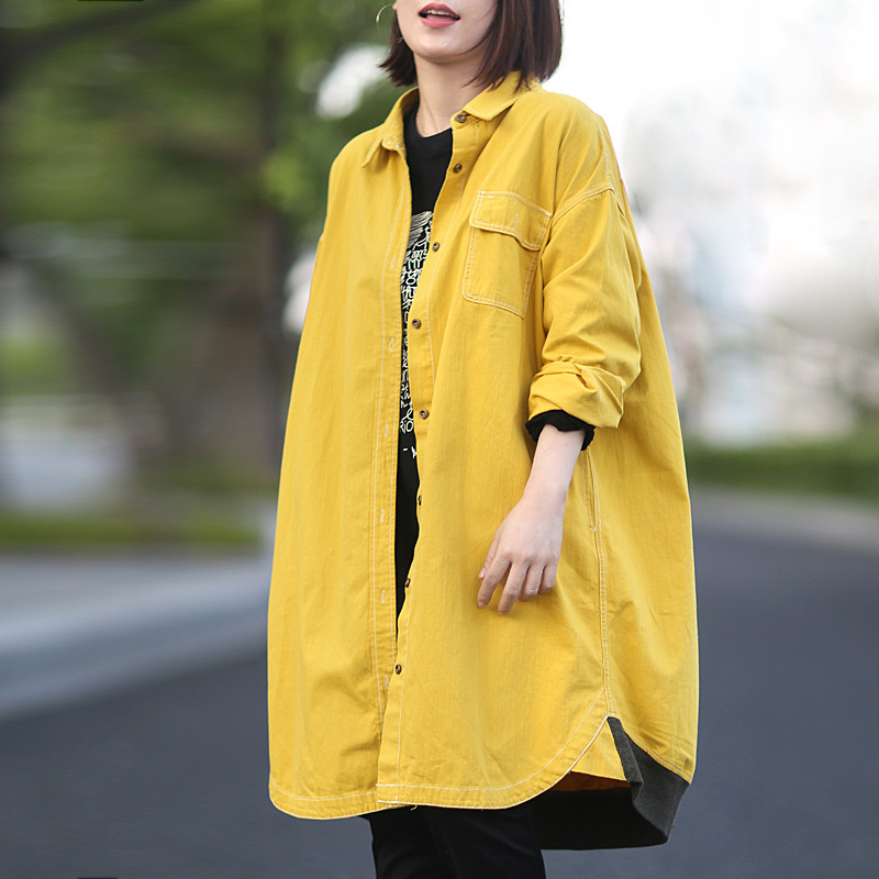 2019 female new autumn korean styple plus plus size outerwear casual long lapels long- sleeve loose shirt   trench
