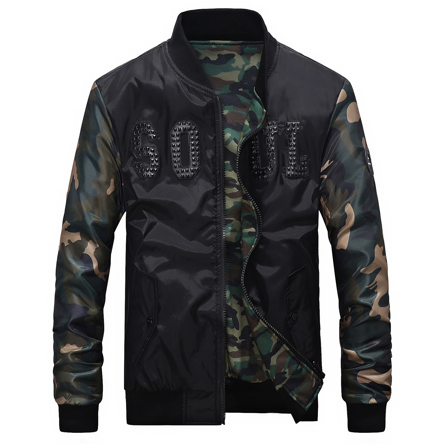 Cotton-padded Clothes Male Camouflage Split Joint Thickening Keep Warm Loose Coat Men Clothing Autumn Men's Jacket Windbreakers