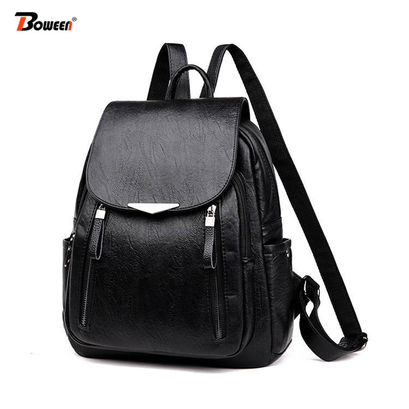 Pu Leather Backpack Women Black 2019 New Women Backpack Female Solid Bagpack Ladies Backbag Back Pack Red