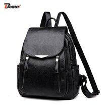 Pu Leather Backpack Women Black 2019 New Women