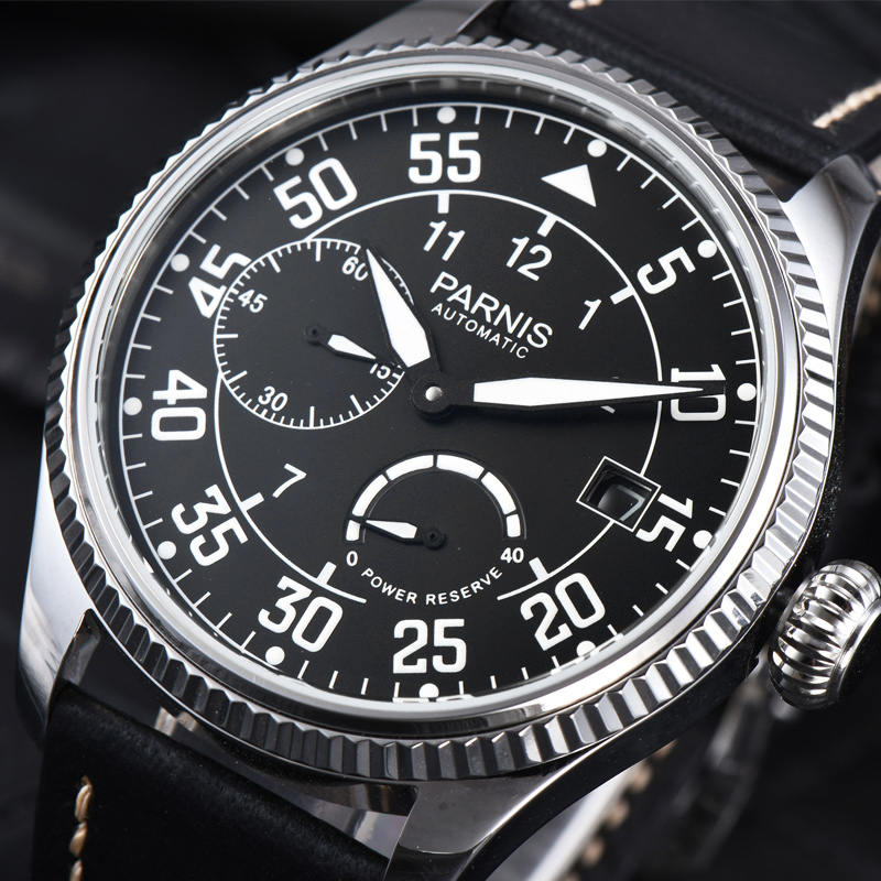 Parnis 45mm Dial Automatic Mechanical Men's Watch Leather Strap Luxury Brand Waterproof Men Wrist Watches Power Reserve Clock
