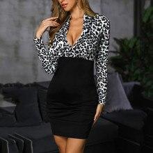 Женское платье Feitong, модное, облегающее, офисное, для девушек, с перекрестным v-образным вырезом, с длинным рукавом, с леопардовым принтом, облегающее, сексуальное, женское платье