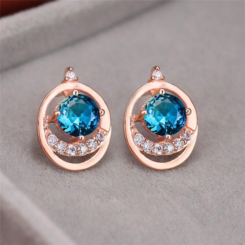 Dainty Female Blue Green Stud Earrings Rose Gold Silver Color Rainbow Earrings Charm Hollow Round Wedding Earrings For Women