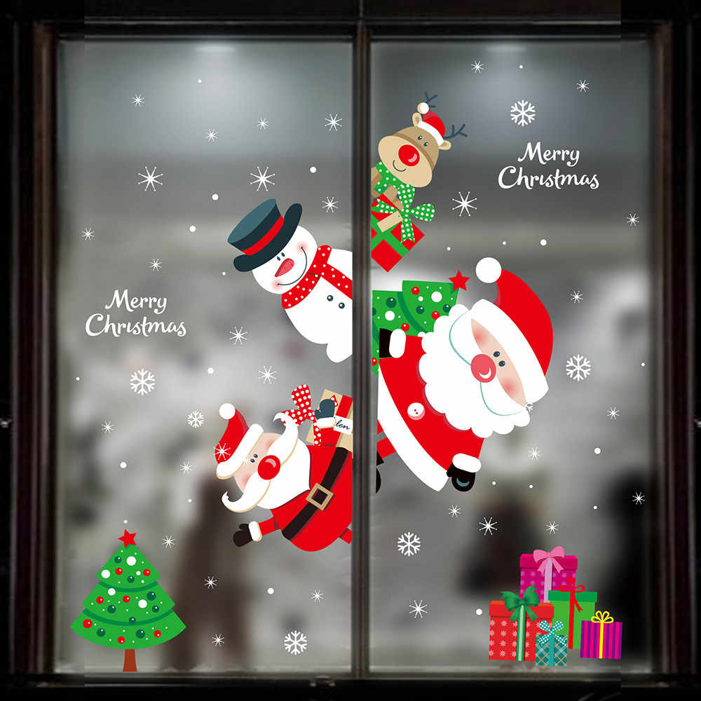Christmas Decoration For Windows Stickers Christmas Wall Sticker Merry Christmas Household Removable Glass Wall Sticker New Year