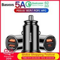 Chargeur rapide de voiture Baseus 30W 4.0 3.0 pour Samsung Huawei Supercharge SCP USB type C PD 3.0 chargeur rapide de téléphone de voiture