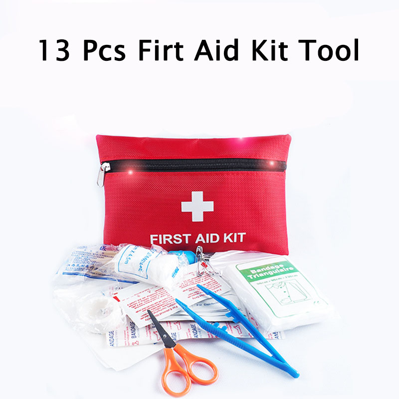 13Pcs/Set Outdoor Emergency Survival Bag Mini Family First Aid Kit Sport Travel Home Medical Bag First Aid Bag Security Protect