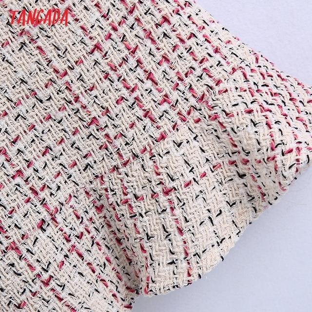 Tangada 2021 Autumn Winter Women Ruffles Tweed Dress V Neck Back Zipper Females Mini Dresses Vestidos BE102 4