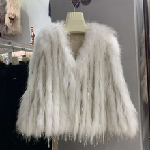 Length 55cm Real fur coat women knitted real