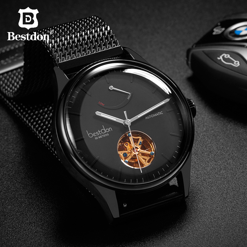Bestdon Mens Watches Top Brand Luxury Automatic Mechanical Tourbillon Colouring Watch Self Winding Waterproof Stainless Steel