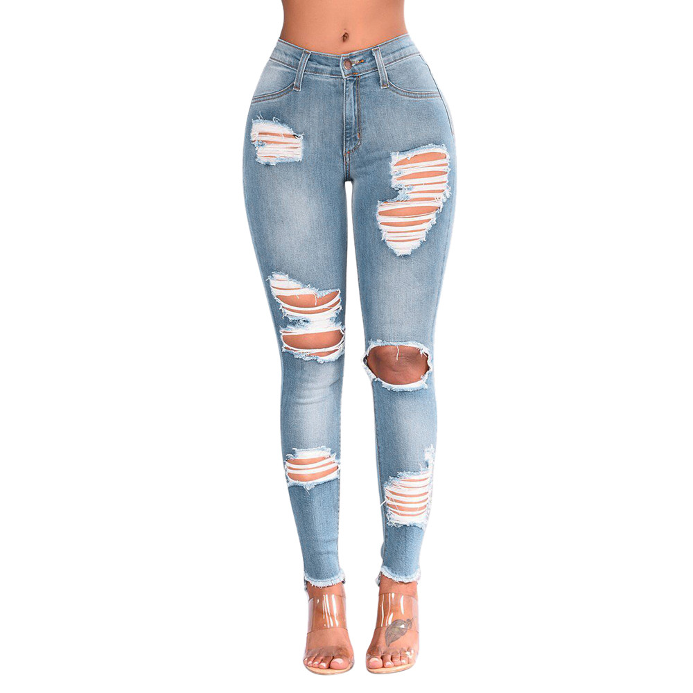 Women Denim Skinny Trousers High Waist Jeans Destroyed Knee Holes Pencil Pants Trousers Stretch Ripped Boyfriend Female