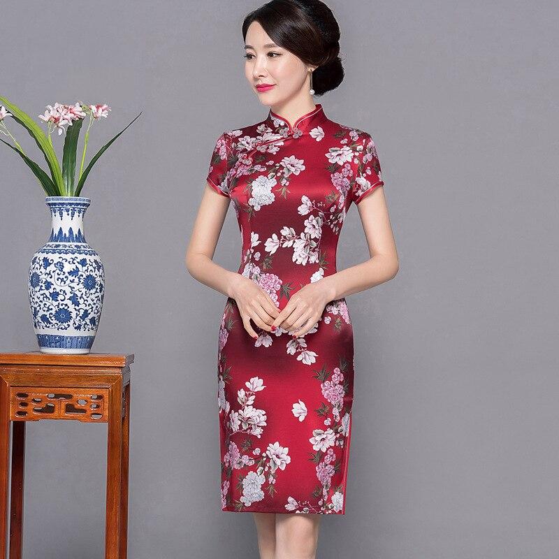Print Flower Women High Split Cheongsam Satin Summer New Sexy Qipao Mandarin Collar Short Sleeve Female Evening Party Dress
