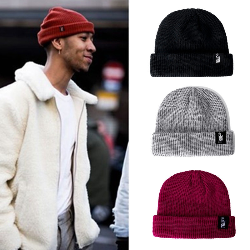 1 PCS Daily Fishermans Beanie Hat Unisex Sailor Style Winter Beanie Ribbed Knitted Short Melon Cap Solid Skull Hat Baggy Ski Hat