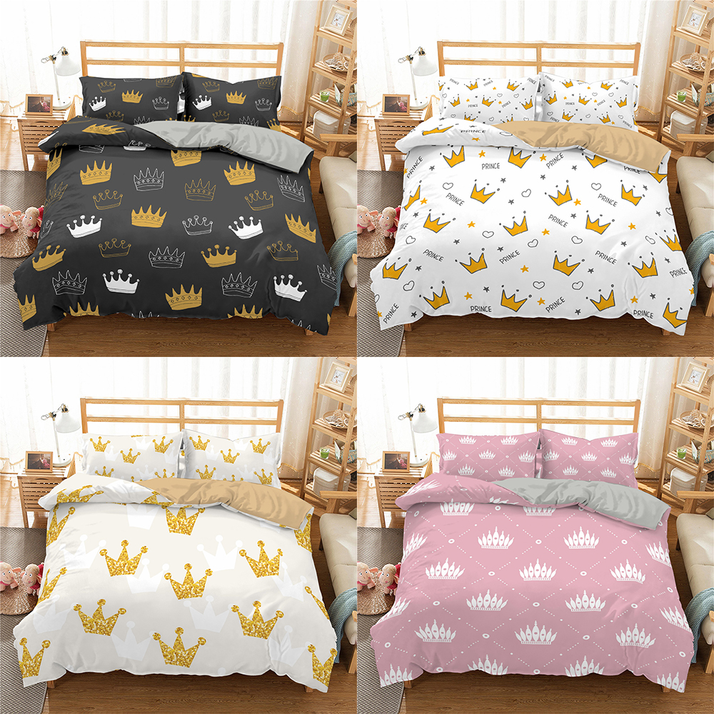 Bedding-Set Comforter Duvet-Cover Crown-Pattern King Queen Print Girl Pillowcases Home title=