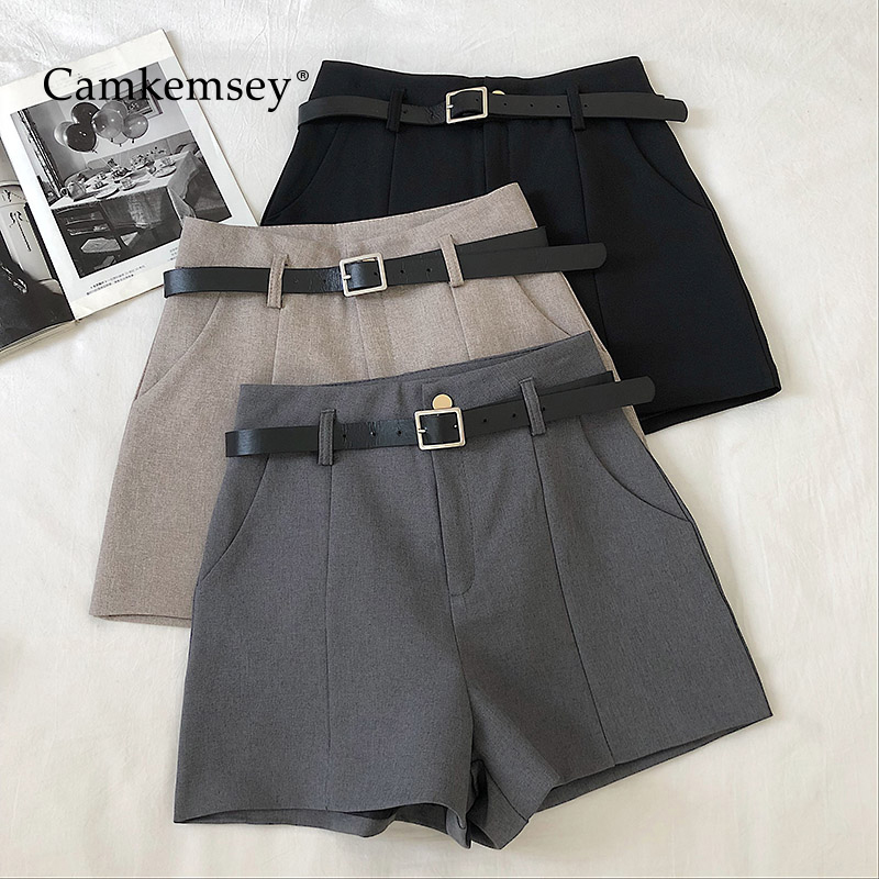 CamKemsey Korean Solid Leisure Suit Shorts Women 2020 Spring Casual High Waist Wide Leg Shorts With Sashes