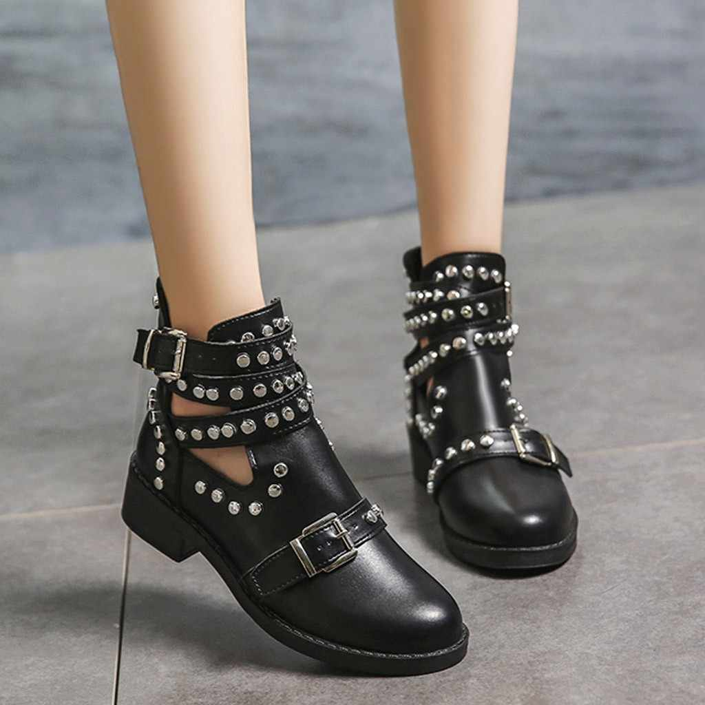 Xiniu çizme kadın moda Rivet kemer toka yarım çizmeler kadınlar için çizme öğrenci rahat ayakkabılar kadınlar 2019 büyük boy tek ayakkabı