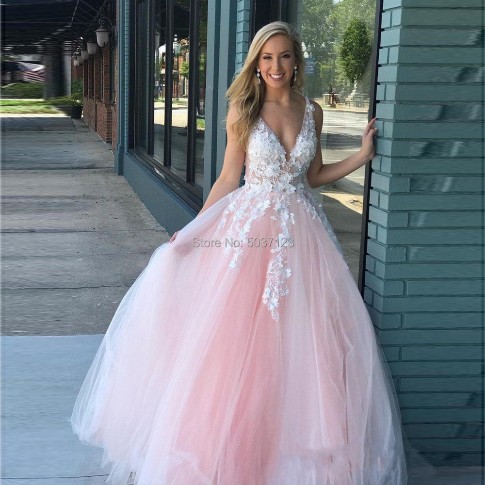 Pink A Line Wedding Dresses Deep V Neck Sleeveless Open Back Vestido De Noiva Lace Appliques Bridal Gowns Floor Length