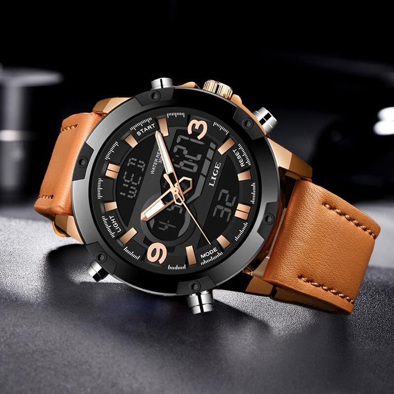 LIGE 2020 New digital watch alarm clock watch dual display watch waterproof watch sport watch men watch for men LED Analog Clock(China)