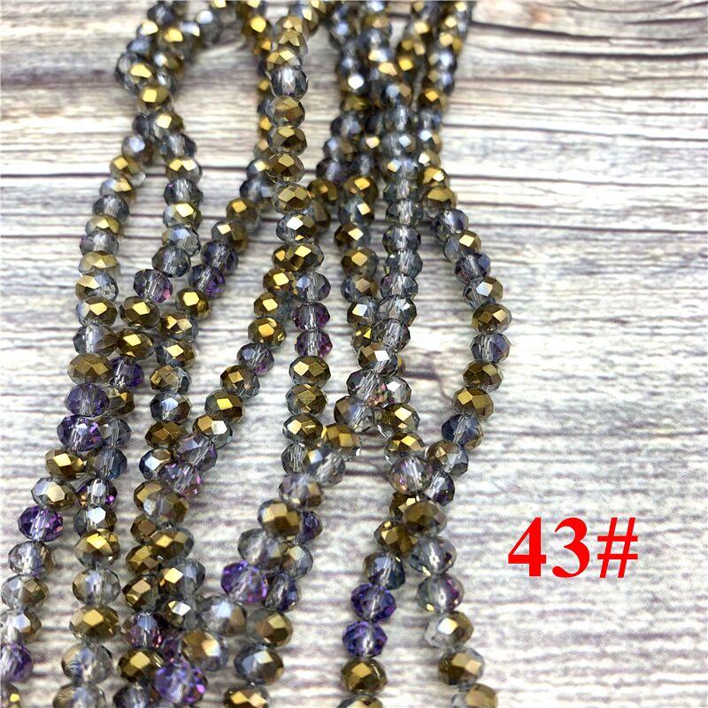 148 шт 2x3 мм/3x4 мм/4x6 мм хрустальные бусины Рондель граненые стеклянные бусины для изготовления ювелирных изделий DIY женский браслет ожерелье ювелирные изделия - Цвет: NO.43