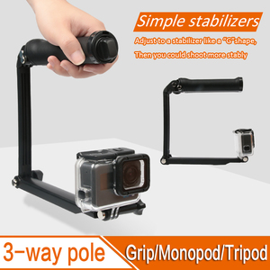 Image 4 - ل GoPro Monopod للطي 3 طريقة Monopod جبل كاميرا قبضة تمديد الذراع ترايبود حامل ل Gopro بطل 9 8 7 6 5 4 3 3 SJ4000