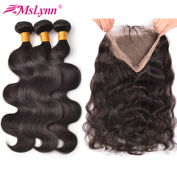 360 Lace Frontal With Bundle Body Wave Hair Bundles With Closure Peruvian Hair Bundles With Closure Remy Human Hair Bundles image