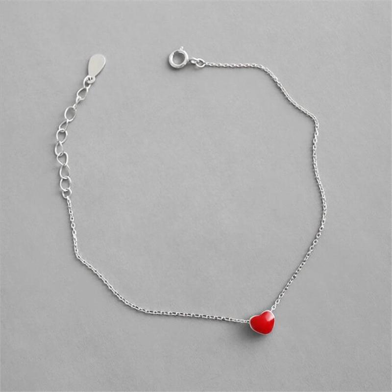 New Fashion  Beautiful 925 Sterling Silver Jewelry Bracelets Love Red Heart Simple Personality Sweet Bracelets  SB65