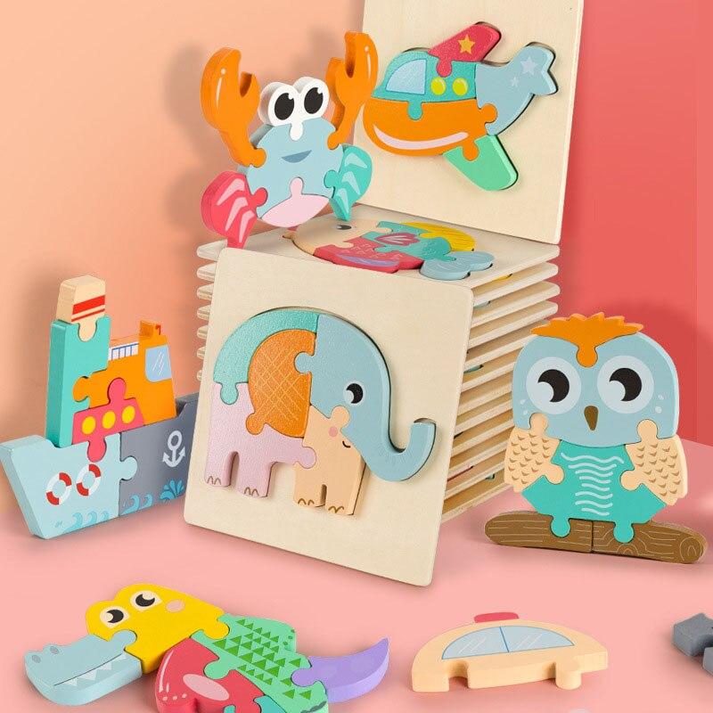 Монтессори развивающие игрушки-пазлы, деревянные игрушки для малышей, гибкая обучающая игрушка для детей 3