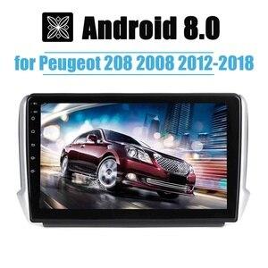"""Image 2 - 1 din 10.2 """"アンドロイド 8.0 車のgps、マルチメディアプレーヤーステレオラジオプレーヤーnav bluetooth wifiプジョー 2008 208 2012 2018"""