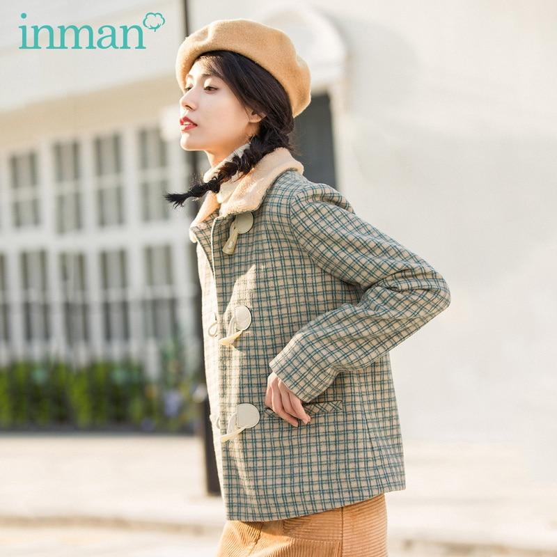 INMAN Winter Literary Plush Retro Lapel Horn Button Check Warm All-match Short Coat