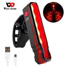 WEST RADFAHREN Laser Linie Bike Hinten Licht USB Aufladbare Wasserdichte MTB Road Fahrrad Sicherheit Warnung Lampe Sattelstütze LED Taschenlampe