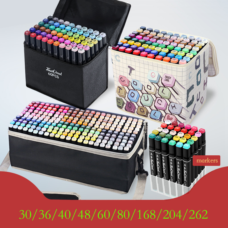 TOUCHCOOL 262 Color Sketch Marker Alcohol Markers Art Drawing Manga Dual Tips Marker Pen Set Black Body Art Supplies For Artist