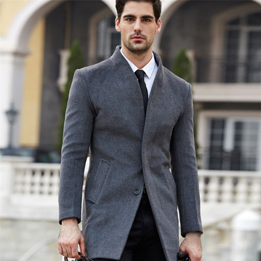 H2c7f924740c54dac8d0a478ec3f46111l Men's Jacket Warm Winter Trench Long Outwear Button Smart Overcoat Coats Long Sleeve Warm Spring Autumn Drop Shipping