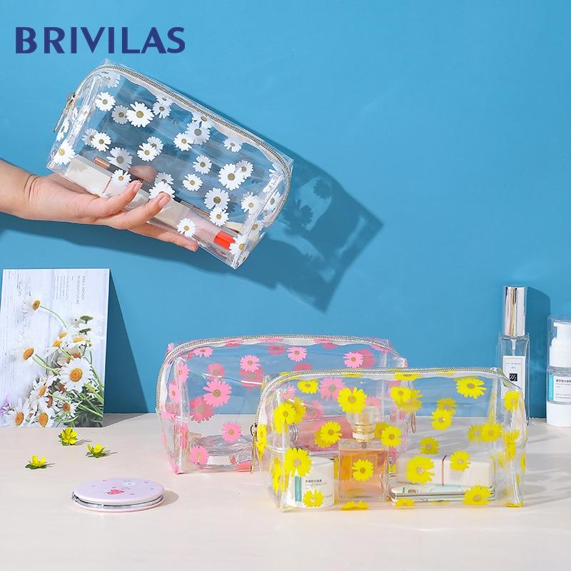 Brivilas Pcv Flowers Cosmetic Bag Women Transparent Travel Storage Makeup Bags Portable Waterproof Oiletries Bag Case Fashion