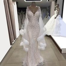 Weiß Wendding Kleider Feder Langen Ärmeln Meerjungfrau Braut Party Kleider 2019 Couture V ausschnitt Tüll Perlen Kristalle Prom Kleider