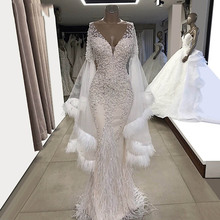White Wendding Dresses Feather Long Sleeves Mermaid Bride Party Gowns 2019 Couture V Neck Tulle Beaded Crystals Prom Dresses