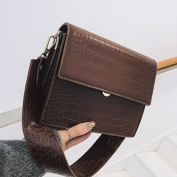Luxury Handbags Women Bags Shoulder Designer Crocodile Pattern Women Leather Pu Messenger Bag Lady Wide Strap Crossbody Bag famous brand designer women leather handbags candy color women messenger bags ladies crocodile pattern shoulder crossbody bag