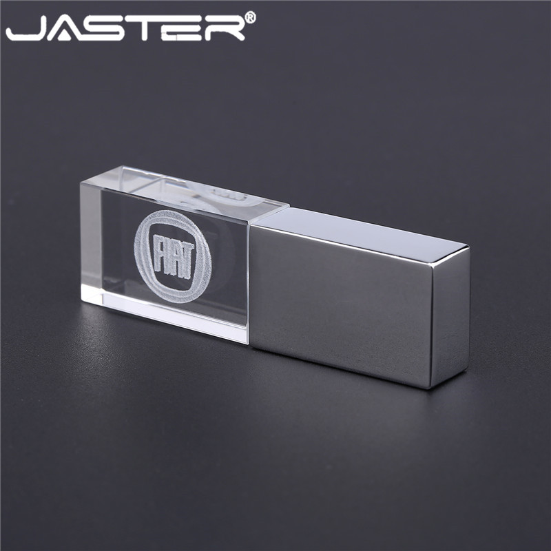 JASTER Fiat Crystal+metal USB Flash Drive Pendrive 4GB 8GB 16GB 32GB 64GB External Storage Memory Card U Disk USB 2.0