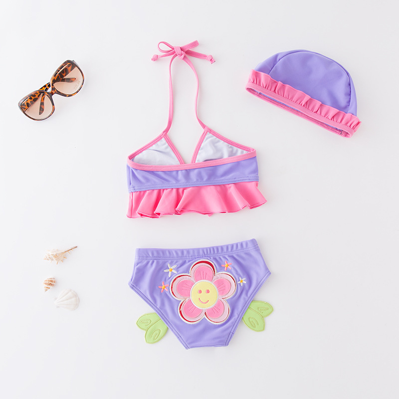 Short In Size Processing KID'S Swimwear Girls' Two-piece Swimsuit Purple Sunflower Bikini Tour Bathing Suit With Cap 3 Pieces