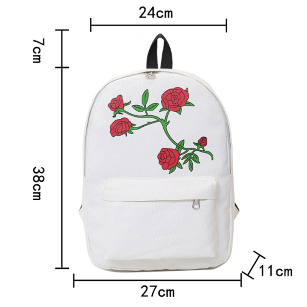 Women's Embroidery Rose Backpack Harajuku Multifunctional Anti-theft School Student Leisure Bag Kawaii Travel Backpack 827
