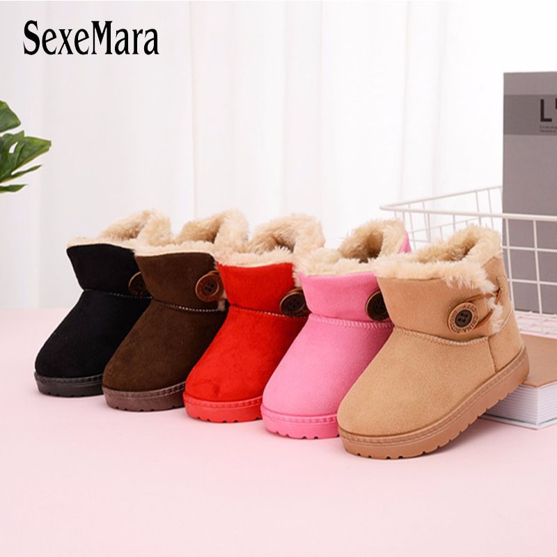 2019 New Casual Buckle Toddler Children Snow Boots Non-slip Kids Girl Fur Shoes Baby Boy Keep Warm Shoes Boots For Winter C08191