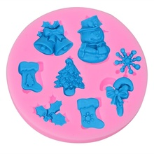 Snowman Snowflake Cake Mould Christmas Series Fondant Silicone Handmade Soap Decorative Material