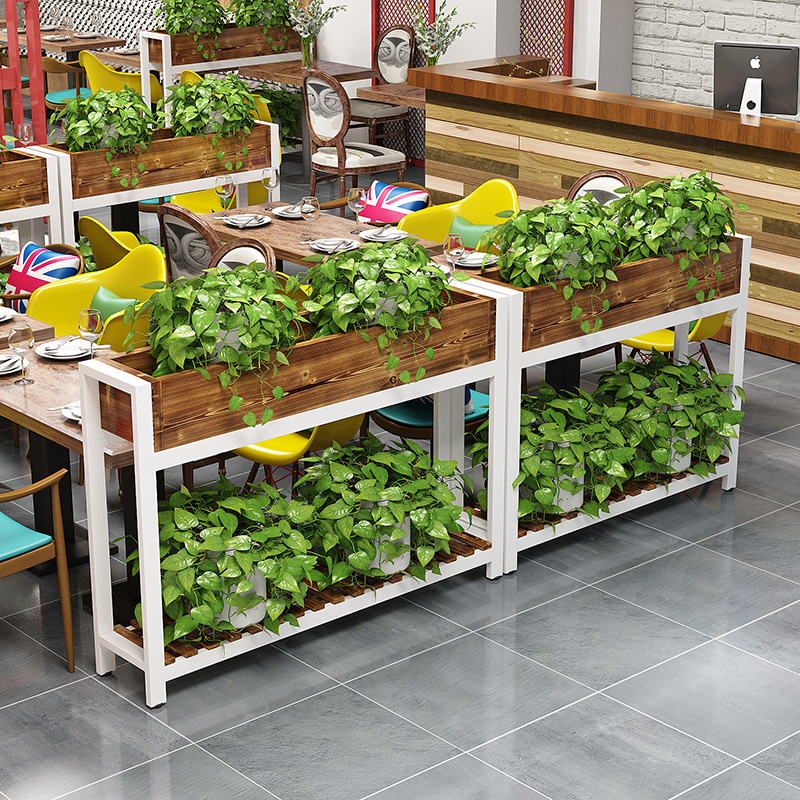 A Kind Of Box Anticorrosive Wood Shavings Groove Solid Wood  Restaurant Partition Balcony Plant Flowerpot Shelves