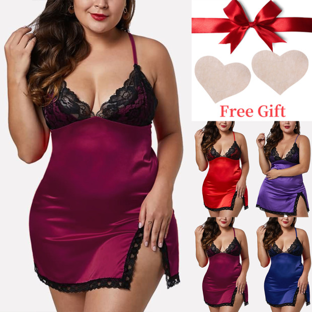 <font><b>5XL</b></font> Plus Size Nightwear Lace <font><b>Sexy</b></font> Nightdress Set Satin Night Dress <font><b>Sexy</b></font> Lingerie Dress Sleepwear Lingerie <font><b>femme</b></font> Split Nightgown image